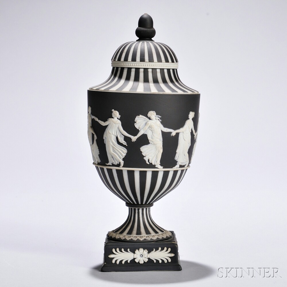 Wedgwood Black Jasper Dip Dancing Hours   Vase and Cover