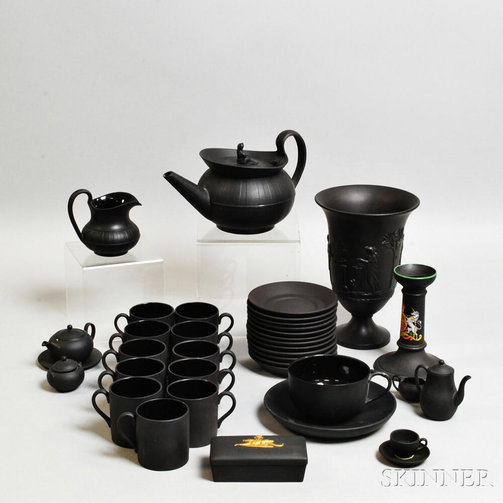 Thirty-six Wedgwood Black Basalt Items
