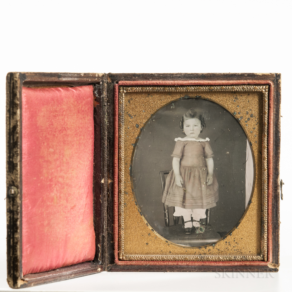Sixth-plate Tinted Daguerreotype of a Little Girl
