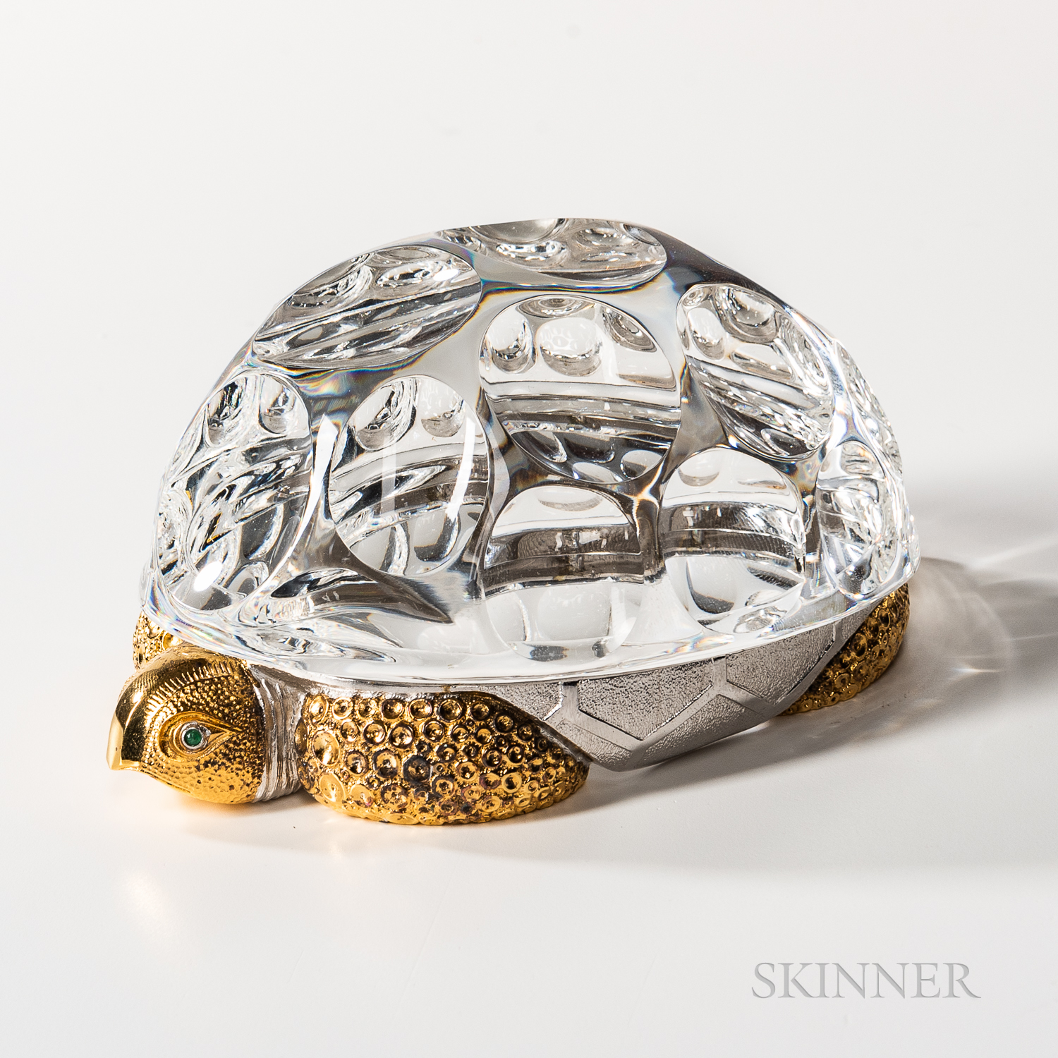 """Steuben Sterling Silver, Gold-washed, and Glass """"Turtle"""" Sculpture"""