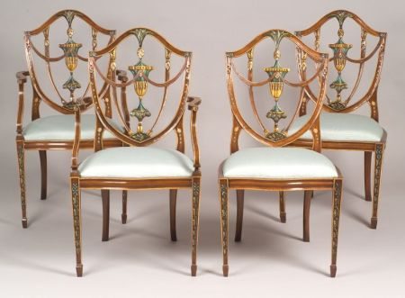 Set of Twelve Federal-style Painted Carved Mahogany Shield-back Dining Chairs