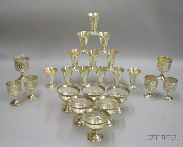 Three Sets of Sterling and Silver Plated Stemware
