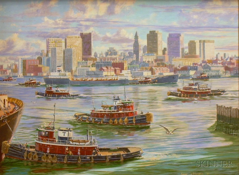 Framed Oil on Canvasboard City Harbor View with Tugboats