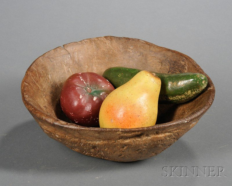 Hand-hewn Burl Bowl with Three Painted Plaster Fruit