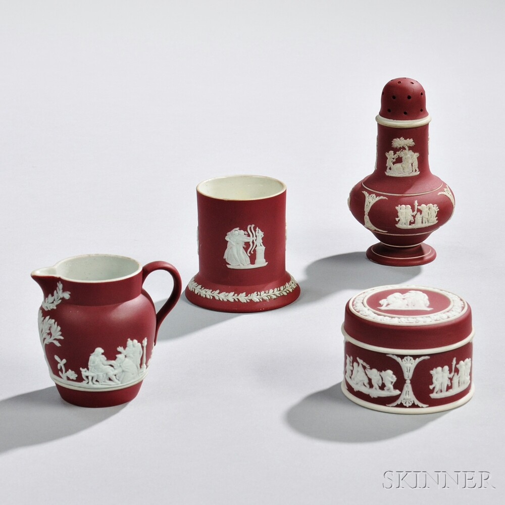 Four Wedgwood Crimson Jasper Dip Items