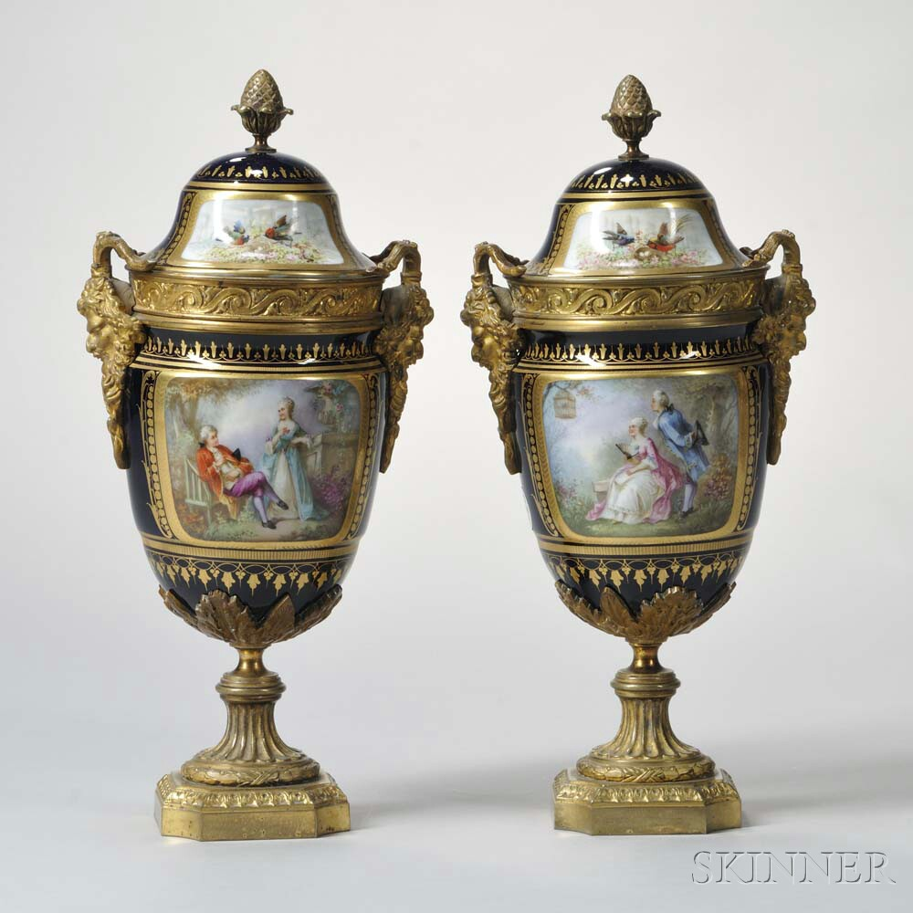 Pair of Gilt-bronze-mounted Sevres Porcelain Vases and Covers