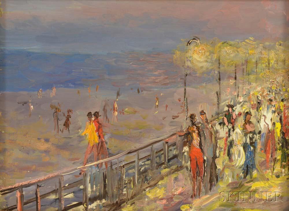 Vladimir Lebedev (Russian/American, 1910-1991)      Boardwalk at Night