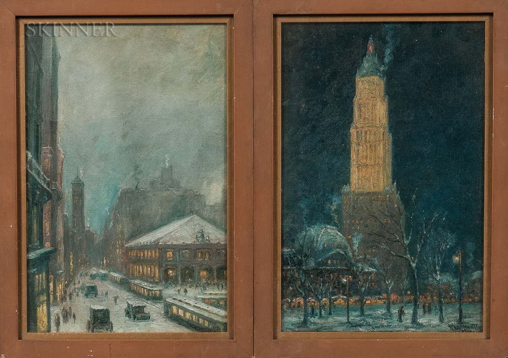 Frederick Leo Hunter (American, 1858-1943)      Two New York City Scenes: Woolworth Building