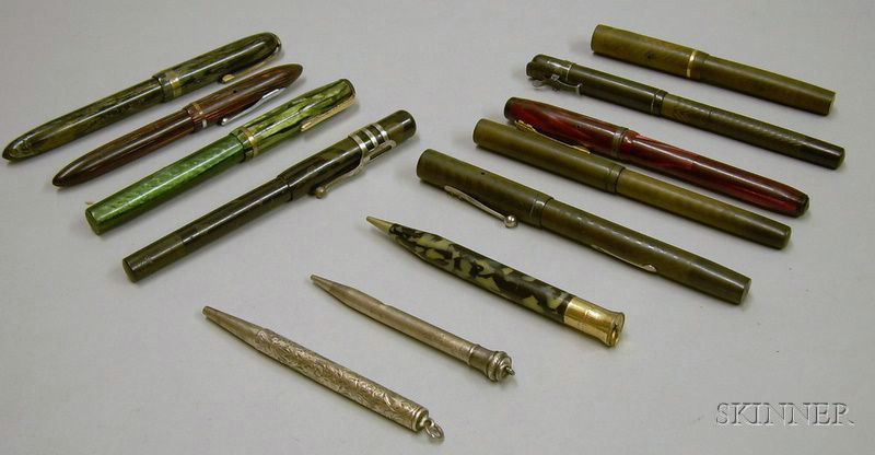 Nine Assorted Fountain Pens and Three Mechanical Pencils.