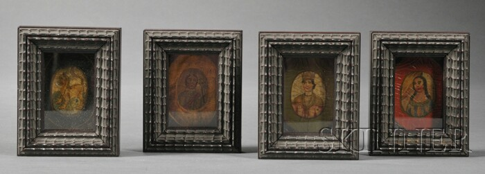 Four Framed Continental Miniature Painting Fragments