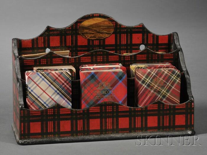 Victorian Tartanware Letter Rack with Eight Miniature Tartan Books