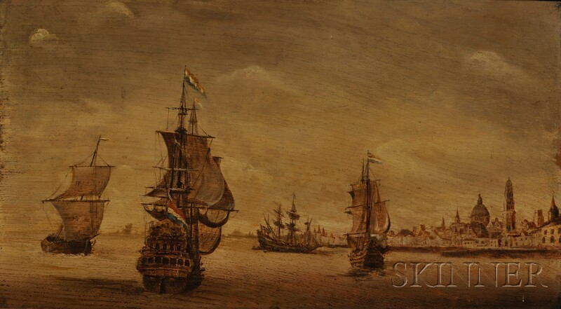 Continental School, 18th/19th Century      View of Dutch Galleons in a Harbor