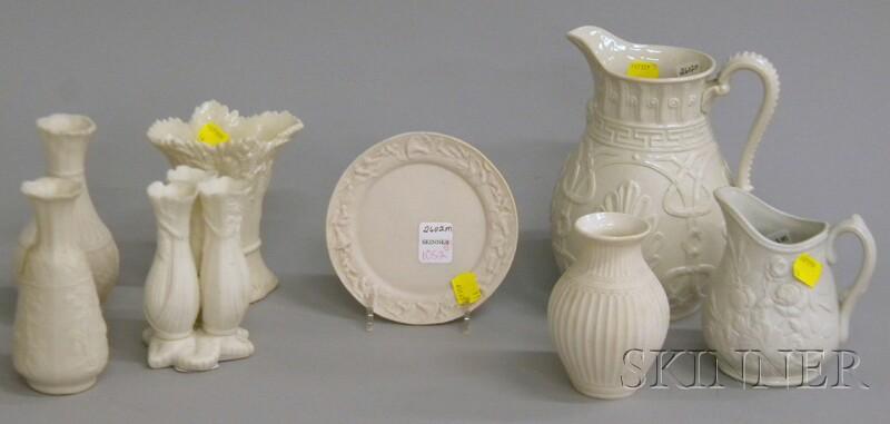Eight Salt-glazed and Parian Table Items.