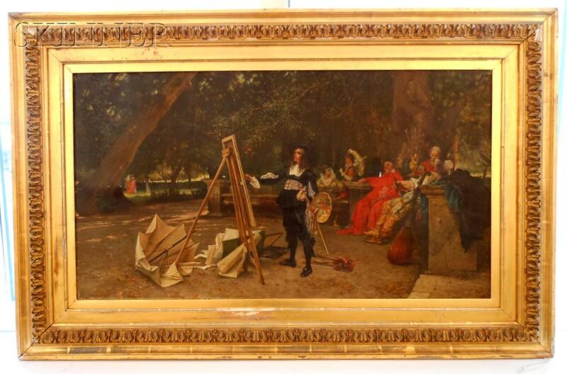 Achille Guerra (Italian, 1832-1903)      Salvator Rosa Painting in the Villa Borghese Gardens