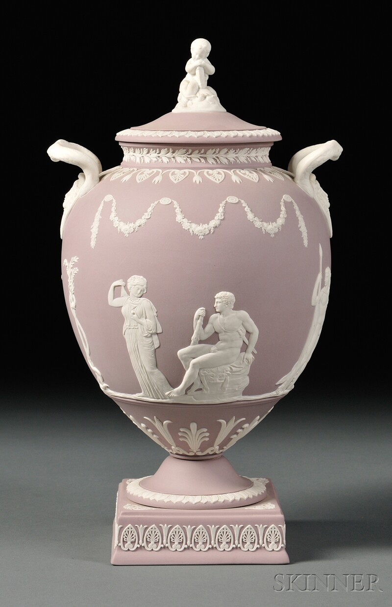 Wedgwood Solid Lilac Jasper Vase and Cover