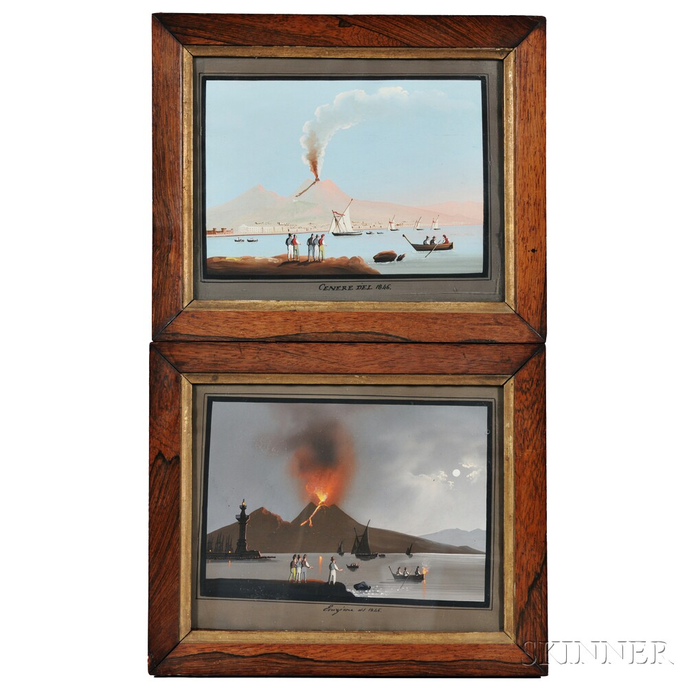 Neapolitan School, 19th/20th Century, Pair of Vesuvius Views Showing the Eruption of 1846 in Daylight and Moonlight: Cenere del 1846 an