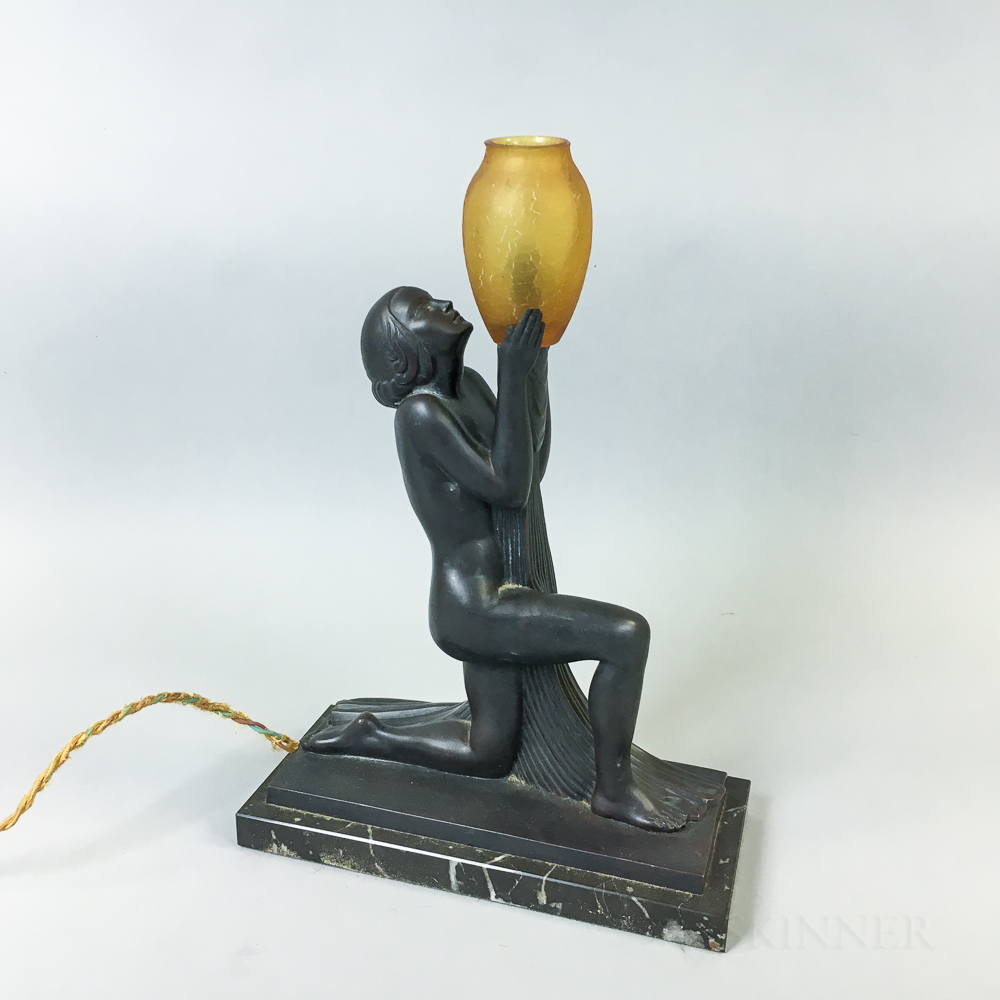 Art Deco-style Bronze and Amber Glass Lamp After Raymonde Guerbe
