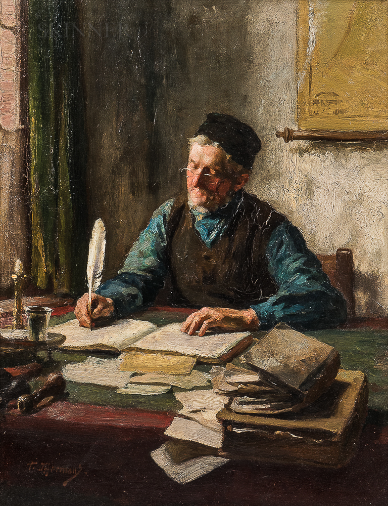 Antoon Lodewijk George (Tony) Offermans (Dutch, 1854-1911)      Clerk Writing with a Quill