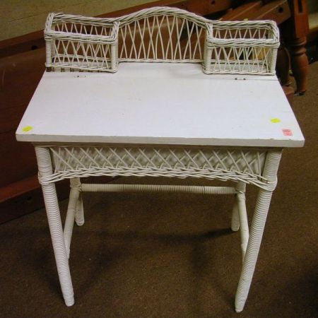 Childs White Painted Wicker Writing Desk.