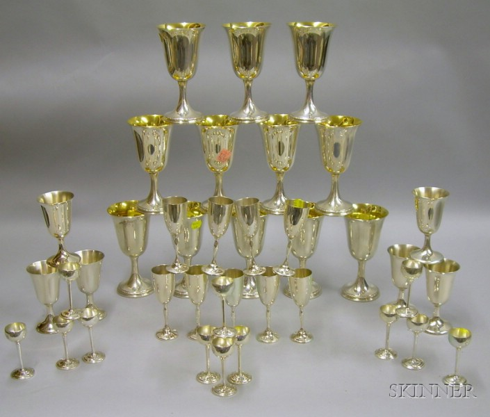 Three Sets of Sterling Silver Stemware