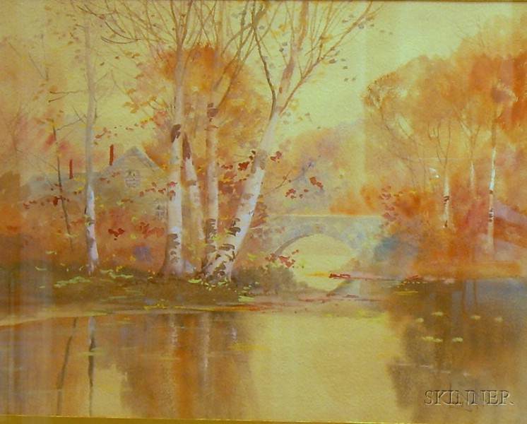 Framed Watercolor and Gouache River View with Birch Trees by Louis Kinney   Harlow (American, 1850-1930)