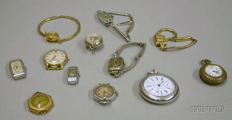 Twelve Assorted Wrist, Pendant, and Pocket Watches.