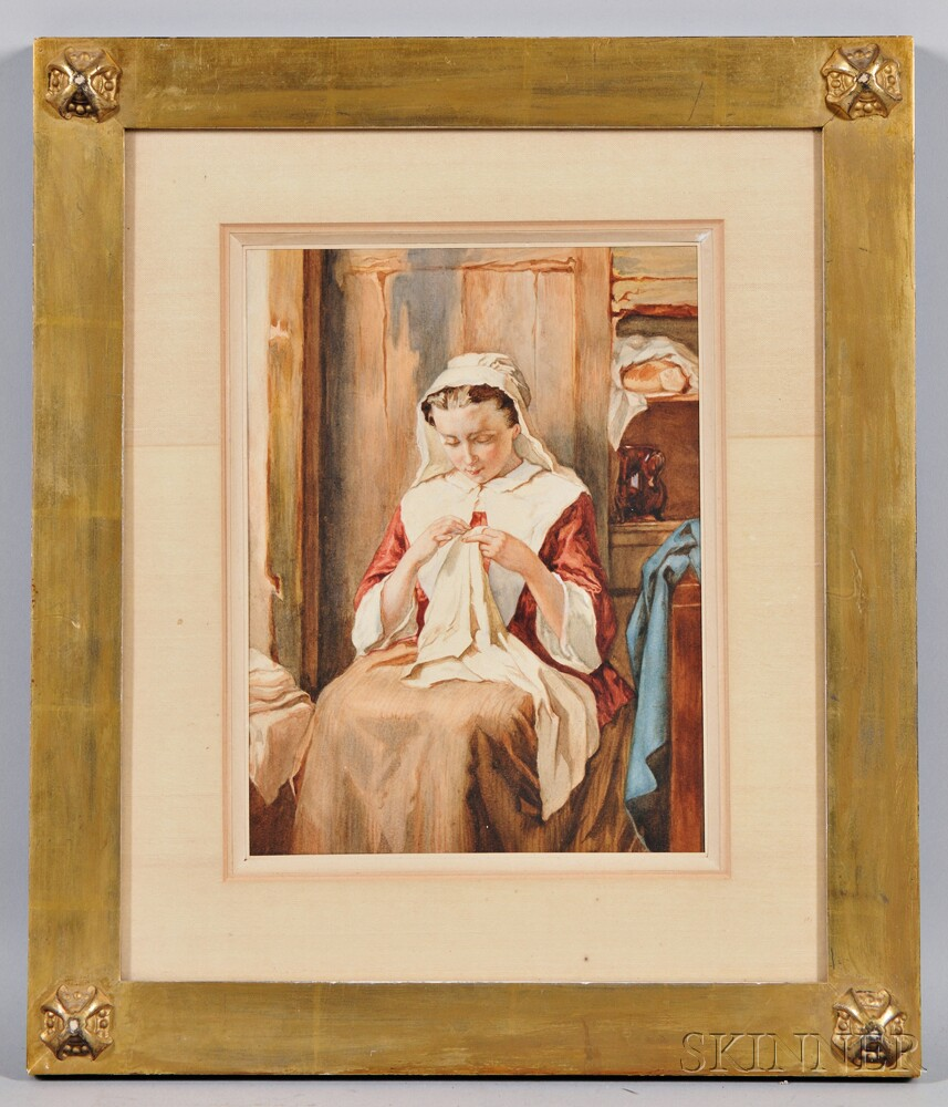 Continental School, 19th Century      Young Peasant Woman at her Needlework