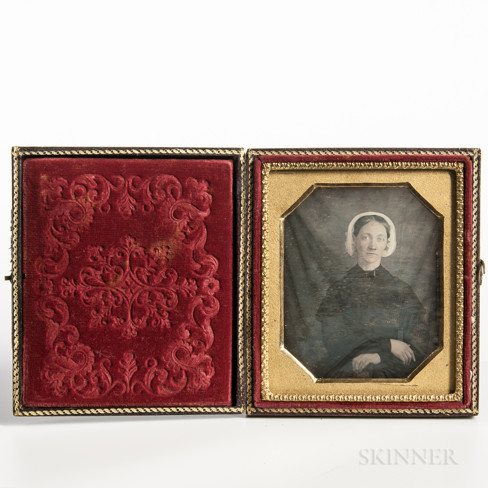 Sixth-plate Tinted Daguerreotype of a Seated Young Woman