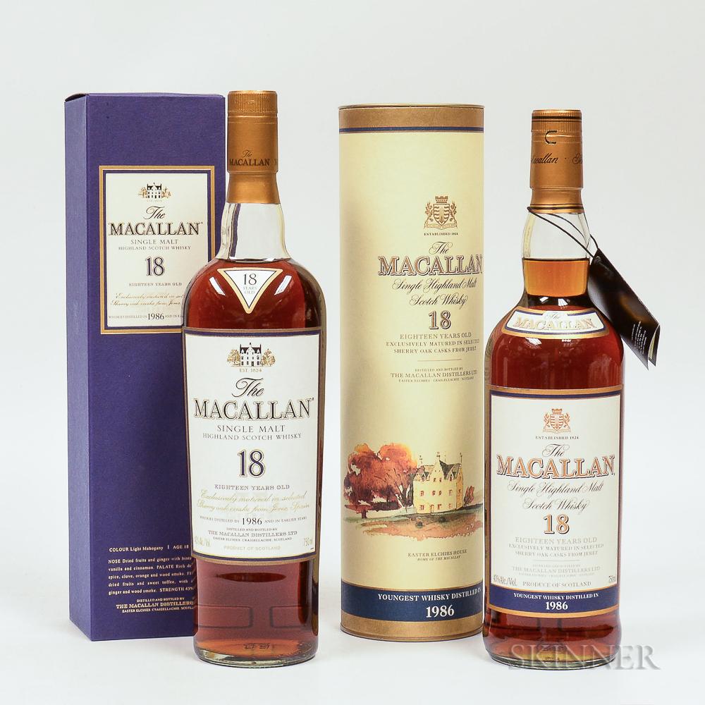 Mixed Macallan 18 Years Old, 2 750ml bottles (oc, ot)