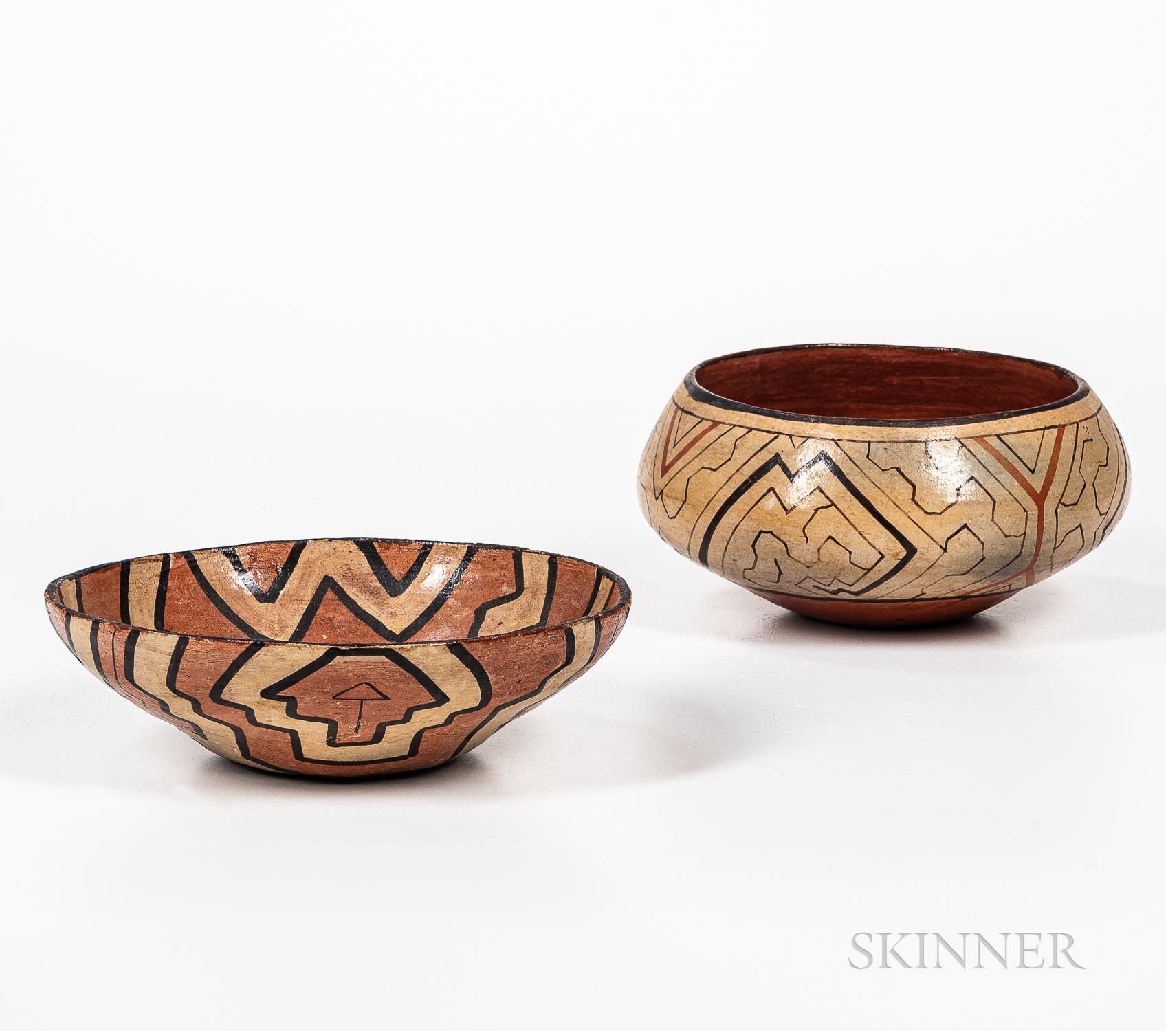 Two Shipibo Pottery Bowls