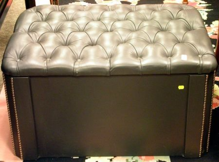 Dark Gray Tufted Leather Upholstered Lift-top Ottoman.