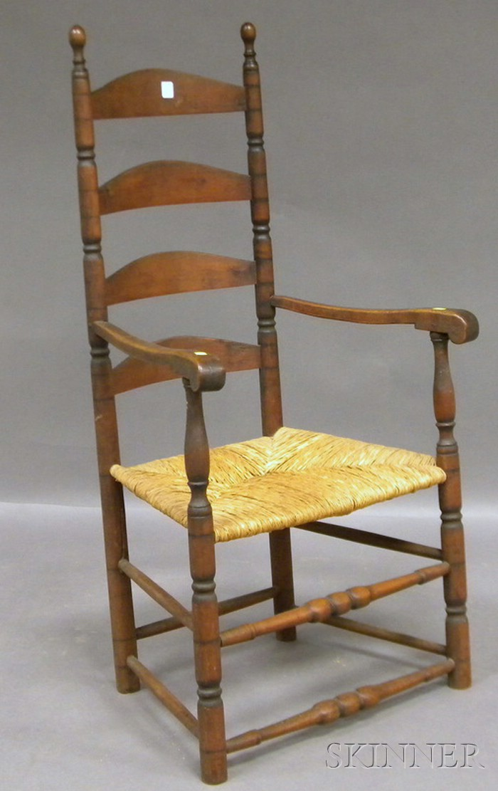 Wood Slat-back Armchair with Woven Rush Seat.