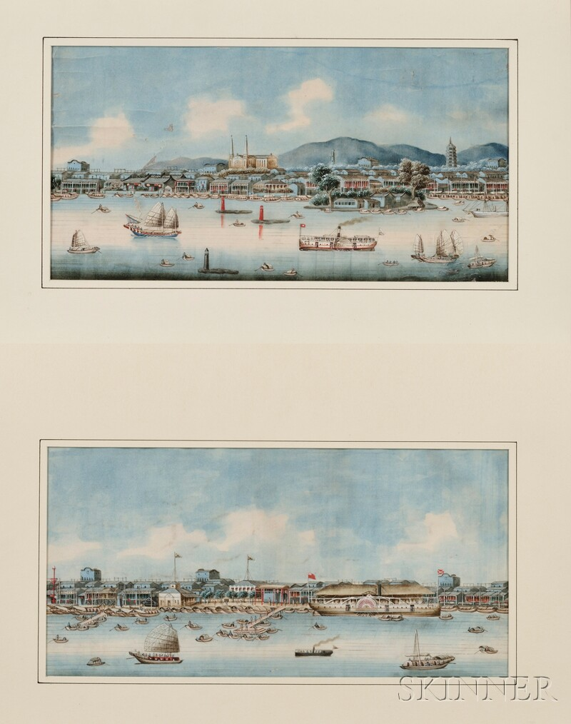 China Trade School, 19th Century      Lot of Two Works:  The Bund at Shanghai