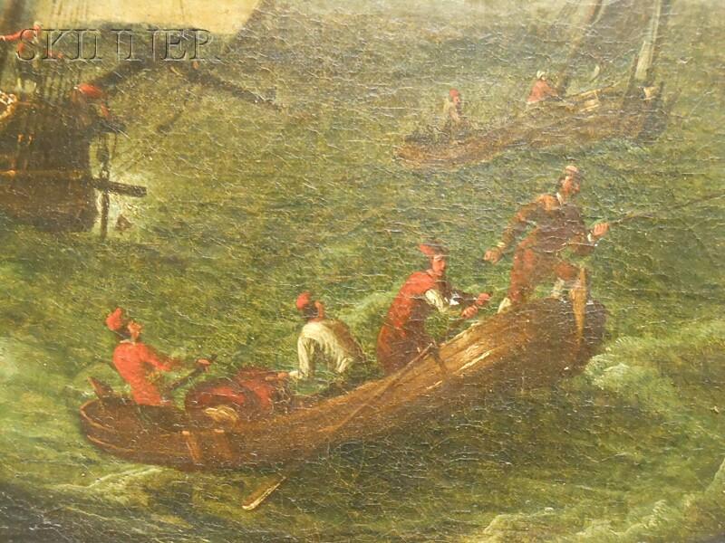 Continental School, 17th/18th Century      Dutch Galleon Coming Ashore