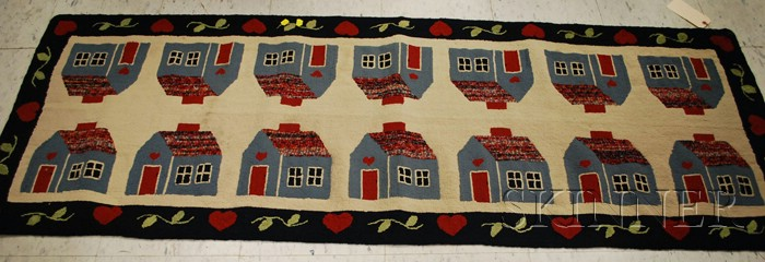Houses and Hearts Pattern Hooked Rug