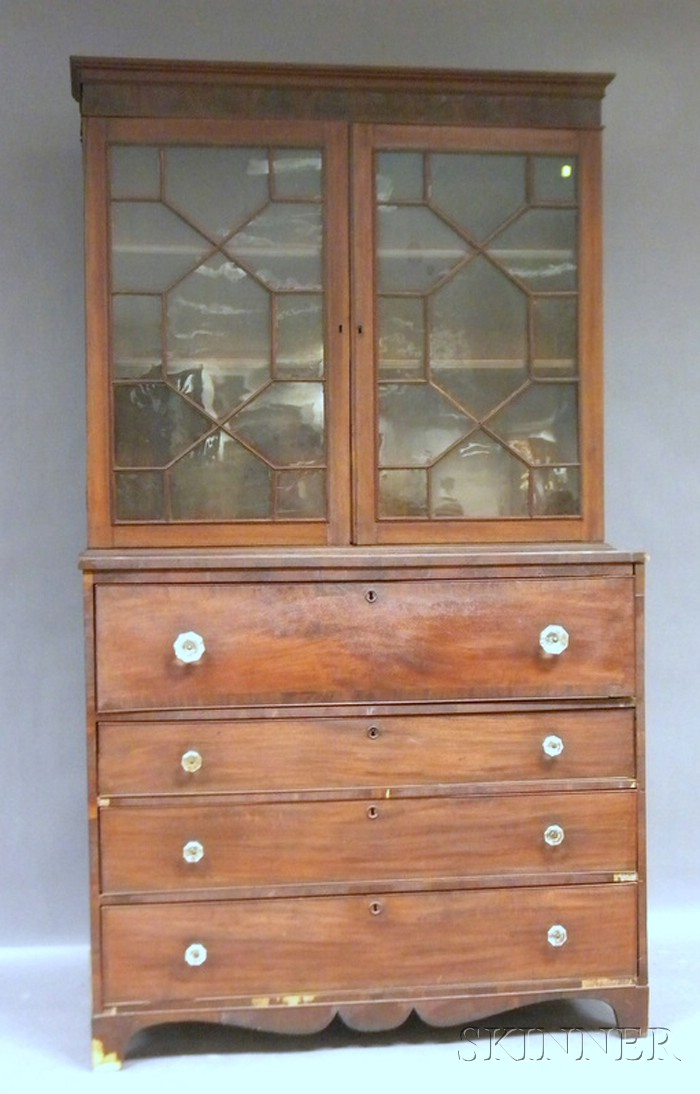 Federal Glazed Mahogany and Mahogany Veneer Butler's Desk/Bookcase.     Estimate $400-600