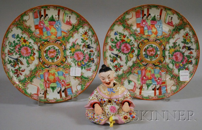 German Porcelain Asian Woman Figural Nodder and a Pair of Chinese Export Porcelain   Rose Medallion Plates