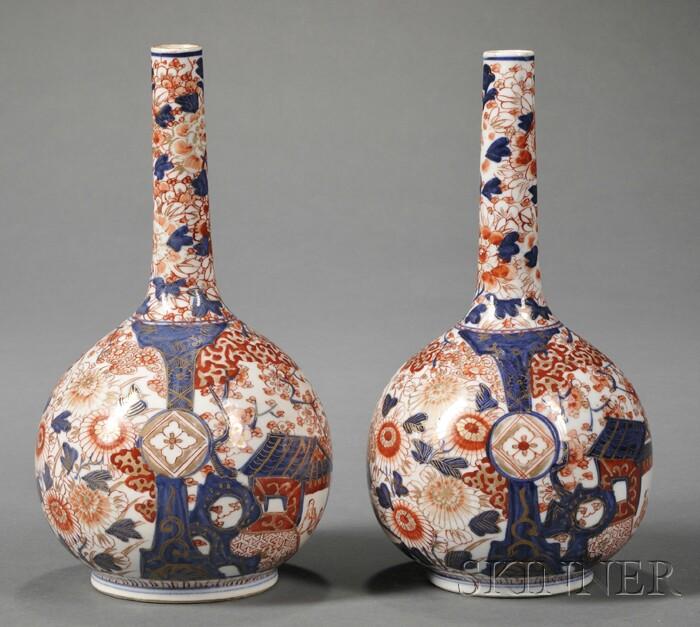Pair of Japanese Imari Porcelain Bottle-form Vases