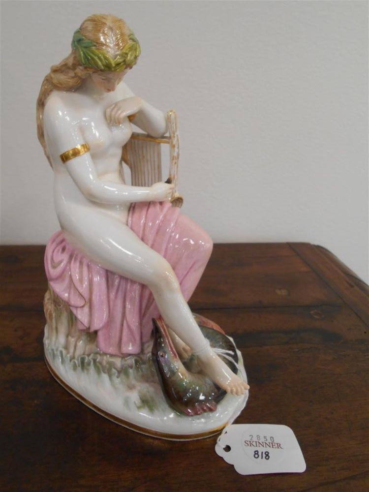 Meissen Porcelain Figure of a Maiden with Lyre