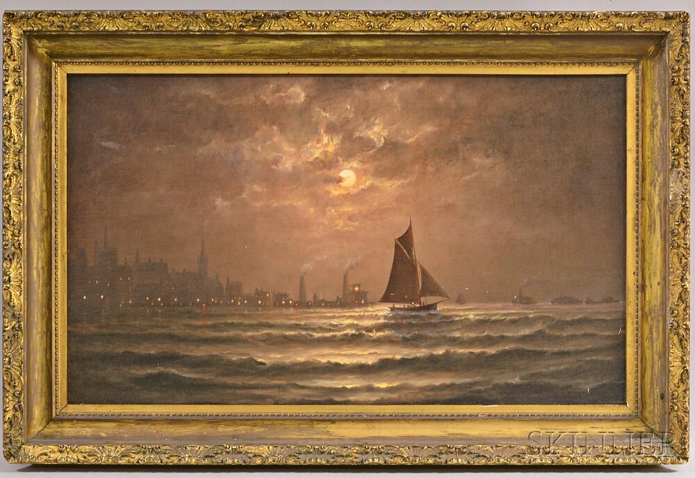 Wesley Elbridge Webber (American, 1841-1914)    Night Sea View