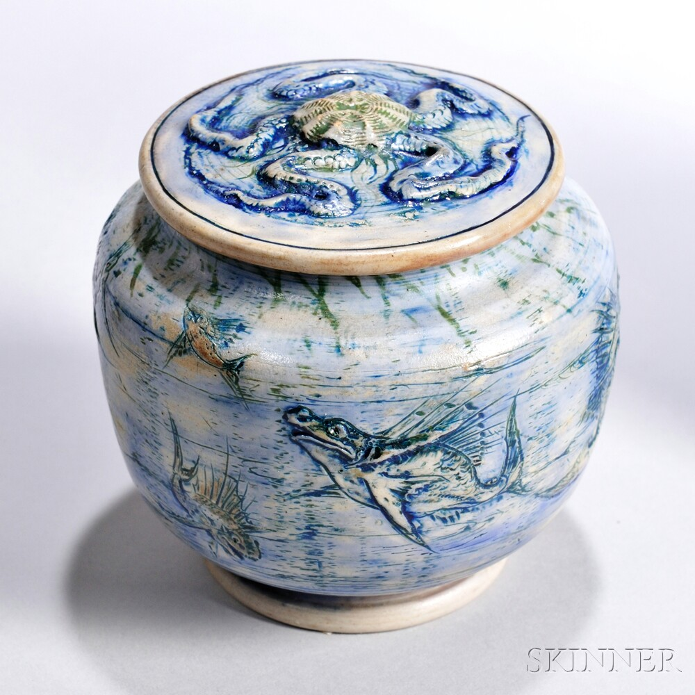 Martin Brothers Stoneware Jar and Cover