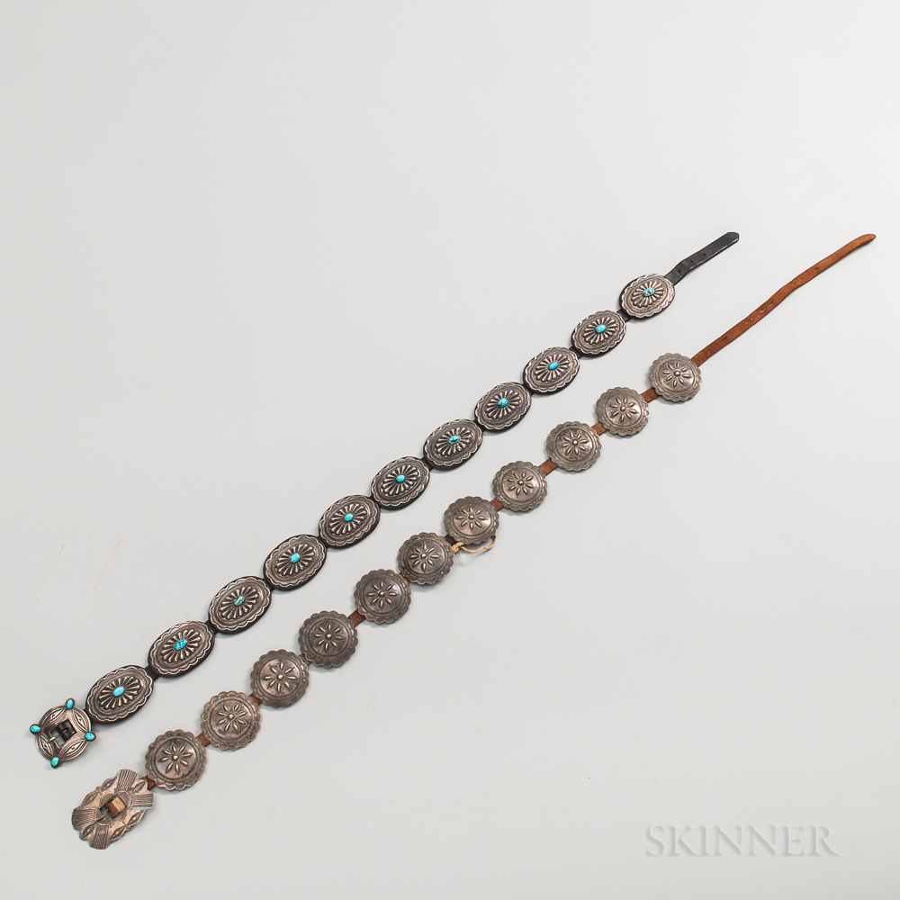 Two Navajo Silver and Turquoise Concha Belts