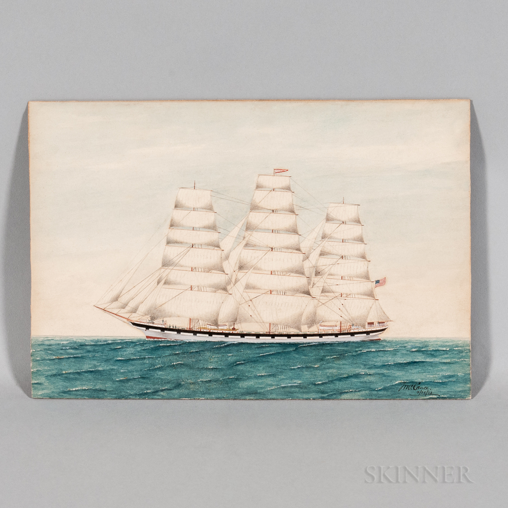 American School, Early 20th Century      Portrait of the Three-masted Vessel Dorothy