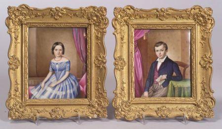 Pair of Continental Handpainted Portrait Plaques of Children