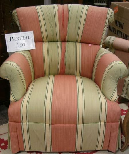 Pair of Striped Upholstered Easy Chairs.