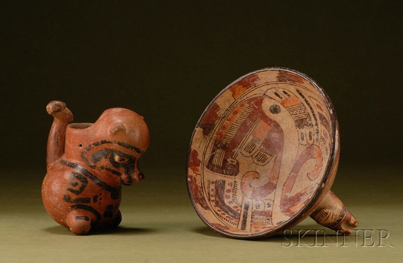 Two Central American Pre-Columbian Painted Pottery Bowls