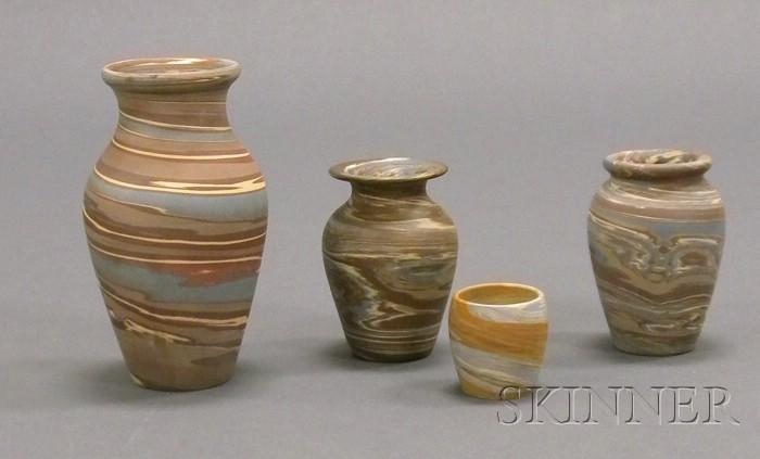 Four Niloak Pottery Vases