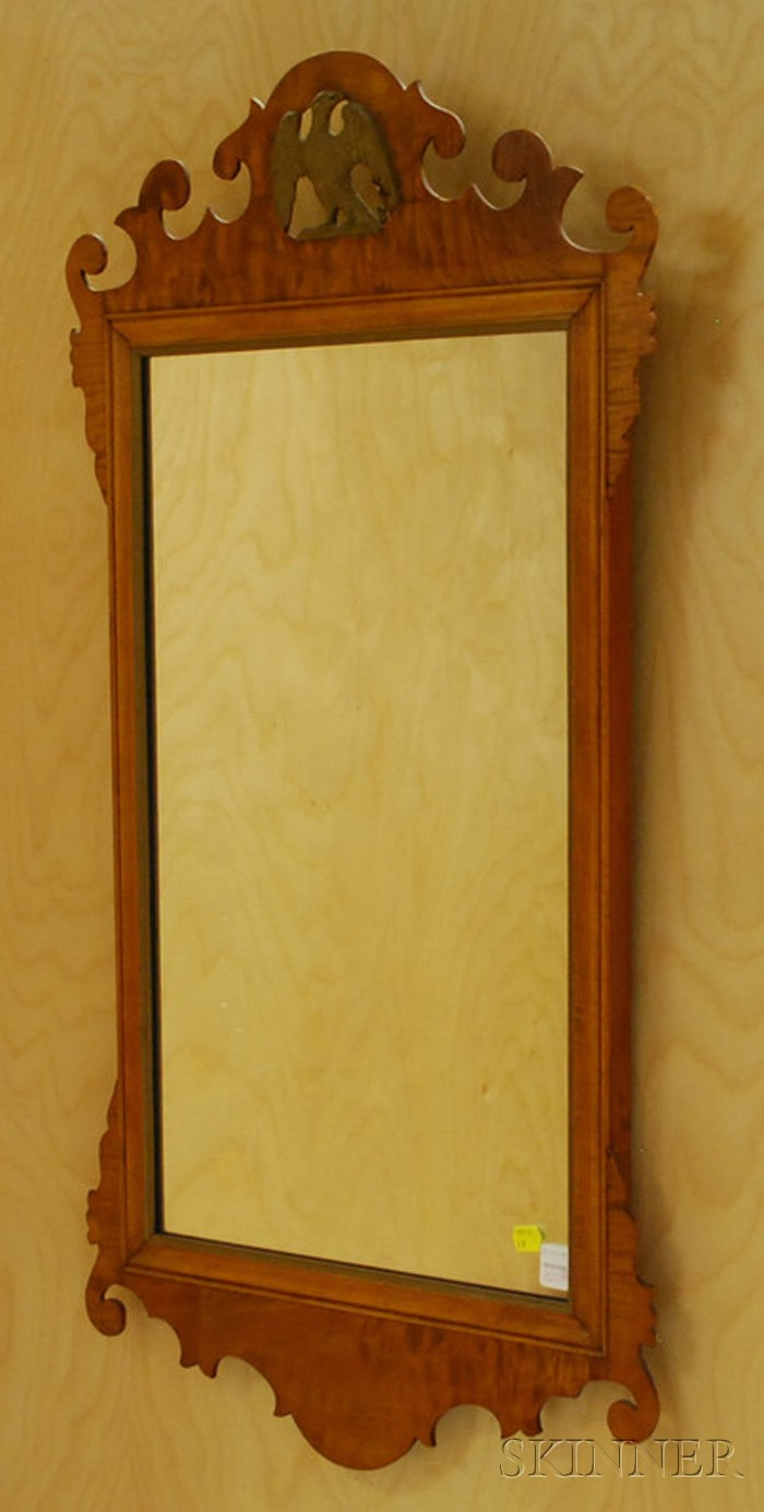 Two Chippendale-style Tiger Maple Mirrors
