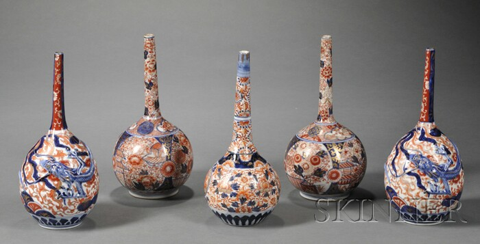 Five Japanese Imari Porcelain Bottle-form Vases