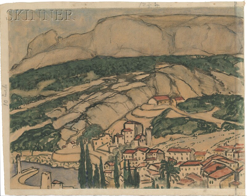 Continental School, 20th Century    Hillside View of Cassis, France